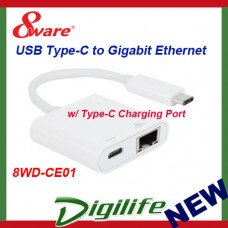 8Ware USB Type-C to Gigabit Ethernet Adapter with Type-C Charging Port Up to 60W