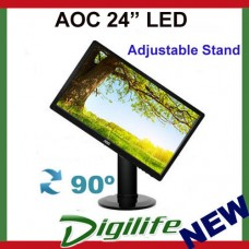 "24"" AOC e2460Phu LED Monitor 2ms HDMI/DVI/VGA Speaker,USB Hub/Charger Height Adj"