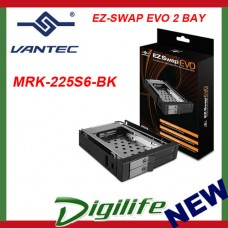 "Vantec EZ Swap EVO 2 Bay 2.5"" SATA SSD/ HDD Removable Rack MRK-225S6-BK"