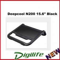 "Deepcool N200 Notebook Cooler Pad Up to 15.6"" Black Aluminium Mesh w/120mm Fan"