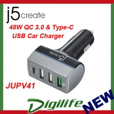 j5create 48W QC 3.0 & Type-C USB 4-Port Car Charger JUPV41