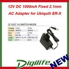 12V DC 1000mA Fixed 2.1mm Tip Positive Appliance AC Adapter for Ubiquiti ER-X