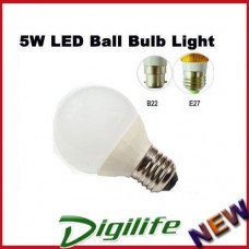 Baorui 5W LED Ball Bulb Light Cool white E27(5PK)