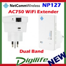Netcomm NP127 Dual Band AC750 Wireless Extender for Access Point WiFi Repeater