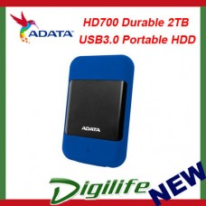 ADATA HD700 Rugged 2TB USB3.0 Portable HDD Blue G Shock Sensor