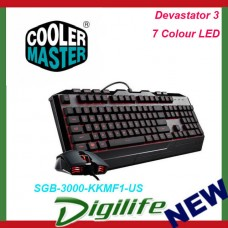 Cooler Master Devastator 3 Gaming Combo Keyboard and Mouse Featuring Seven LED