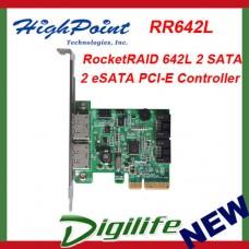 HighPoint RocketRAID 642L 2 SATA 2 eSATA PCI-E 2.0 x4 Controller RR642L