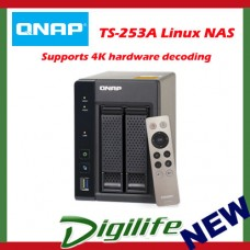 QNAP TS-253A-8G, NAS, 2BAY (NO DISK), 8GB, CEL QC-1.6GHz,USB, GbE(2), 2YR