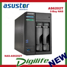 ASUSTOR AS6202T 2-Bay NAS, Quad-Core, 4GB DDR3L, GbE, USB 3.0, eSATA, HDMI, WoL