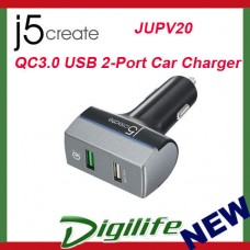 j5create 24W QC 3.0 USB 2-Port Car Charger JUPV20