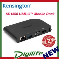 KENSINGTON DOCK SD1500 USB TYPE-C MOBILE DOCKING STATION, GbE, USB-C, HDMI, VGA