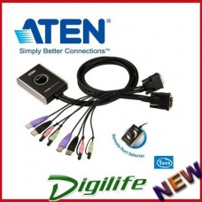 Aten CS-682 Petite 2 Port USB DVI KVM Switch with Audio, remote button, Cables