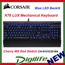 Corsair Gaming K70 LUX Blue Backlit Mechanical Keyboard Cherry MX Red