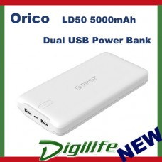 Orico White LD50 5000mAh Dual USB Power Bank USB 5V2A