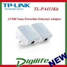 TP-Link TL-PA411Kit AV500 Nano Powerline Ethernet Adapter Starter Kit HomePlug