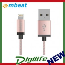 Mbeat Aluminium Lightning Cable with Nylon Braided -2 metre - Rose Gold