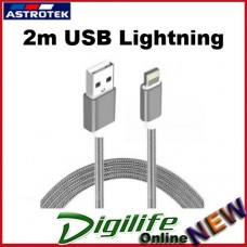 Astrotek 2m USB Lightning Data Sync Charger Grey White Cable iPhone iPad iPod