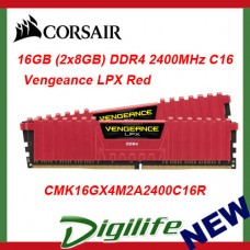 Corsair Vengeance LPX 16GB (2x8GB) DDR4 2400MHz Memory - RED