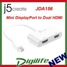 j5create Mini DisplayPort mDP to Dual HDMI Adapter JDA156