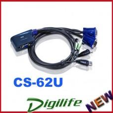 Aten Petite 2 Port USB VGA KVM Switch with Audio - 1.2m Cables Built In CS-62U