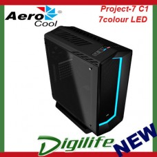 Aerocool P7-C1 Black Case Tempered Glass 8 Color LED Gaming Mid Tower Quiet ATX