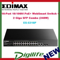 Edimax 16-Port 10/100M PoE+ WebSmart Switch + 2 Giga SFP Combo (240W)