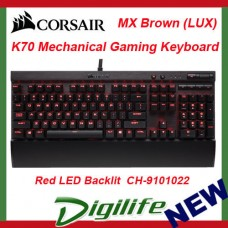 Corsair Gaming K70 LUX Cherry MX Brown Mechanical Gaming Keyboard Red Backlit