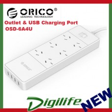 Orico OSD-6A4U AC Outlet & USB Charging Port Surge Protector & Power Board