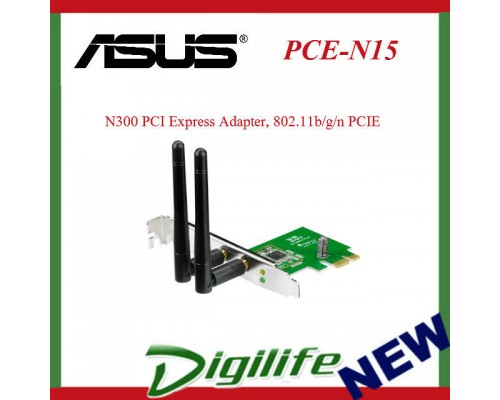 ASUS PCE-N15 Wireless 2.4GHz N300 PCI Express Adapter, 802.11b/g/n PCIE