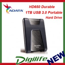 ADATA HD650 Rugged 1TB USB3.0 Portable Hard Drive Black Shock Resistant