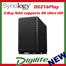 "Synology DiskStation DS216Play 2-Bay NAS Server 3.5"" Diskless GbE 4KHD"