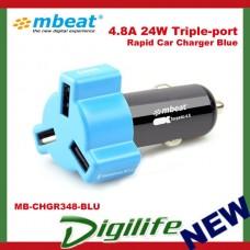 Mbeat 4.8A 24W Triple-port USB Rapid Car Charger Blue