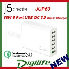 j5create 58W 6-Port USB QC 3.0 Super Charger JUP60
