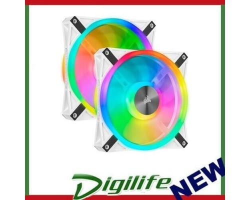 Corsair QL140 RGB White Dual Fan Kit with Lighting Node Core, ICUE,140mm RGB LED