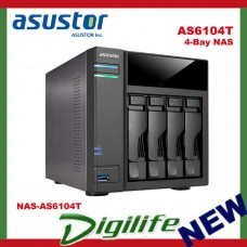 ASUSTOR AS6104T 4-Bay NAS, Duad-Core, 2GB DDR3L, GbE, USB 3.0, eSATA, HDMI, WoL