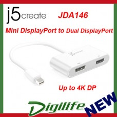 j5create Mini DisplayPort mDP to Dual Display Port Adapter JDA146