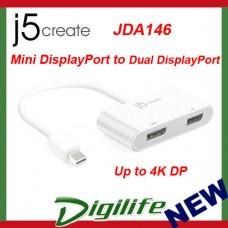 j5create Mini DisplayPort mDP to Dual Display Port Adapter JDA146