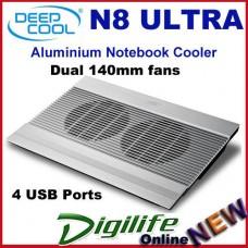 """Deepcool N8 Ultra Aluminium Notebook Cooler Up To 17"""" Dual 140mm fans 4 USB"""