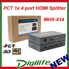 PCT [MHS414] 1x 4 port HDMI Splitter, HDTV resolution 1080p 4k2k
