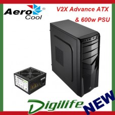 Aerocool Black V2X Advance ATX Mid Tower PC Case & 600w PSU (USB3.0)