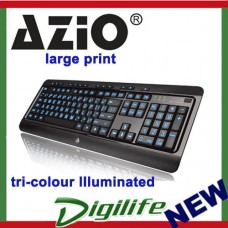 AZIO Large Print Tri-Color Illuminated Keyboard (KB505U)
