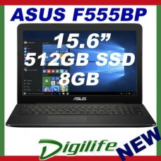 "ASUS F555BP 15.6"" HD LED A9-9410 3.5Ghz 8GB 512GB SSD Radeon R5 DVD/RW Win10"